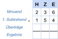 Beispiel Subtraktion 1 - 1. Schritt
