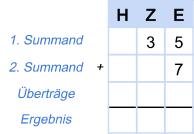 Addition Beispiel 1 - Schritt 1
