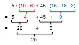 Klammerregeln - Beispiel 1