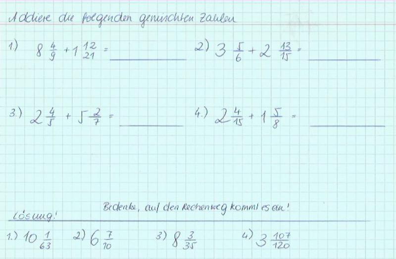 gemischte Zahlen 4 - Übungen