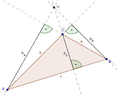 Höhenlinien außerhalb des Dreiecks
