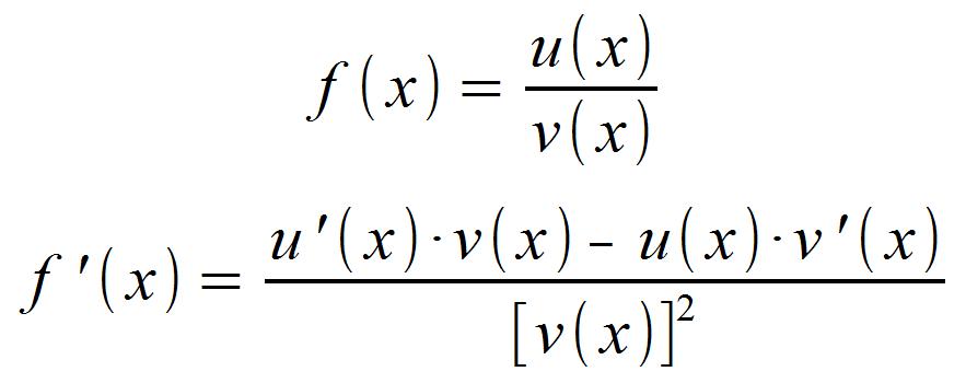 Formel für Quotientenregel