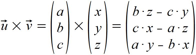 Formel Kreuzprodukt